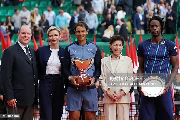 Prince Albert II of Monaco Princess Charlene of Monaco winner Spain's Rafael Nadal Elisabeth Anne de Massy and second placed France's Gael Monfils...