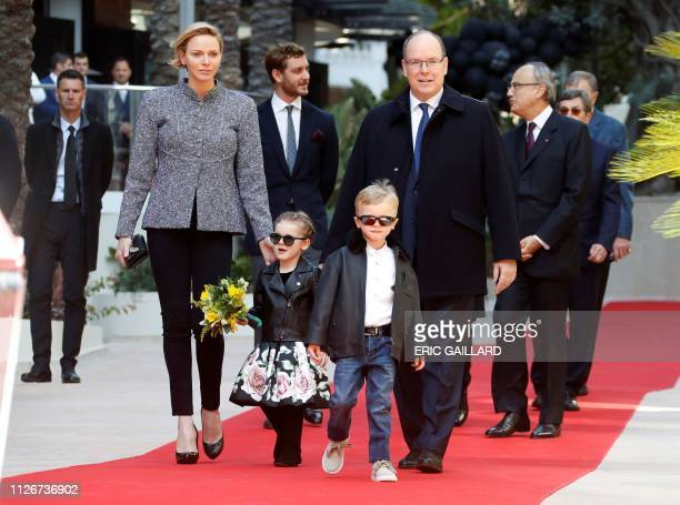 Prince Albert II of Monaco Princess Charlene twins Princess Gabriella and Prince Jacques arrive for the inauguration of the new complex of Luxury the...
