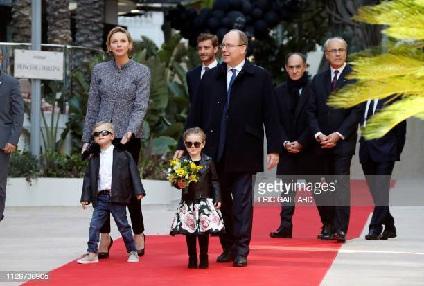 Prince Albert II of Monaco Princess Charlene twins Princess Gabriella and Prince Jacques arrive for the inauguration of the new Luxury complex the...