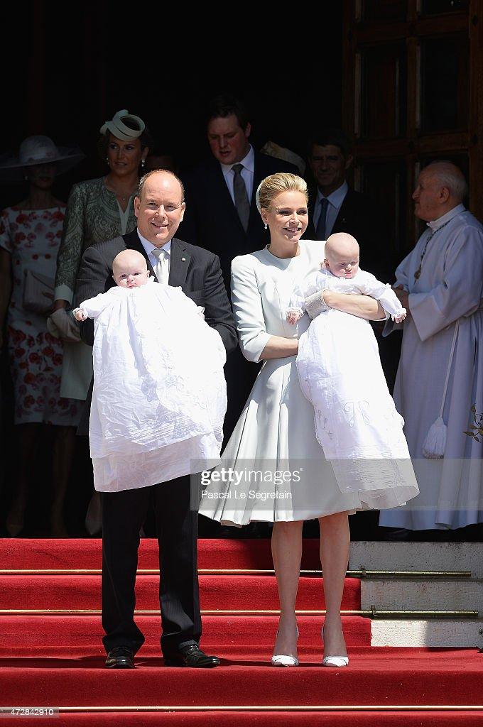 Prince Albert II of Monaco, Princess Gabriella of Monaco, Prince Jacques of Monaco and Princess Charlene of Monaco attend The Baptism Of The Princely Children at The Monaco Cathedral on May 10, 2015 in Monaco, Monaco.