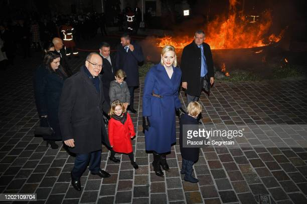 Prince Albert II of Monaco, Princess Gabriella of Monaco, Princess Charlene of Monaco and Prince Jacques of Monaco leave the Sainte Devote Ceremony....