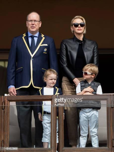 Prince Albert II of Monaco Princess Gabriella Prince Jacques of Monaco and Princess Charlene of Monaco attends the Sainte Devote Rugby Tournament at...