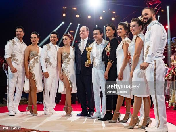 Prince Albert II of Monaco Princess Stephanie of Monaco and Les Tuniziani attends the 44th International Circus Festival on January 21 2020 in Monaco...