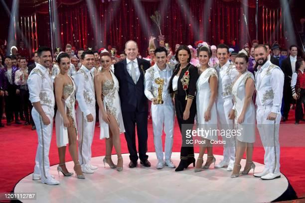 Prince Albert II of Monaco Princess Stephanie of Monaco and Les Tuniziani attend the 44th International Circus Festival on January 21 2020 in Monaco...