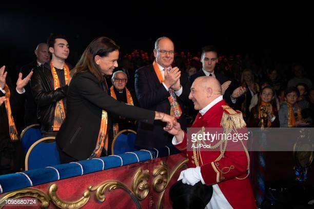 Prince Albert II of Monaco Princess Stephanie of Monaco and Louis Ducruet attend the 43rd International Circus Festival on January 17 2019 in Monaco...