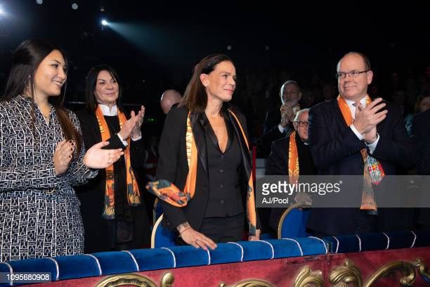 Prince Albert II of Monaco Princess Stephanie of Monaco and Marie Chevallier attend the 43rd International Circus Festival on January 17 2019 in...