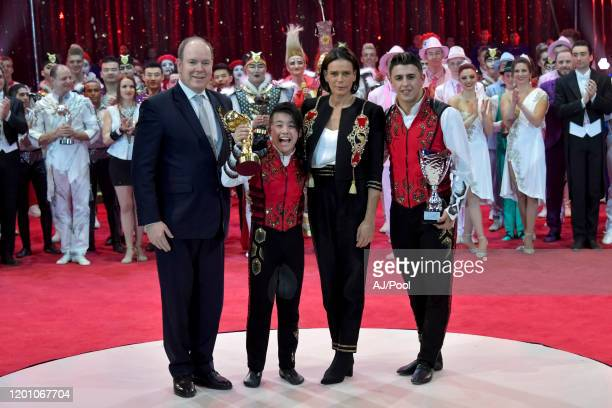 Prince Albert II of Monaco Princess Stephanie of Monaco and Martinez brothers attends the 44th International Circus Festival on January 21 2020 in...
