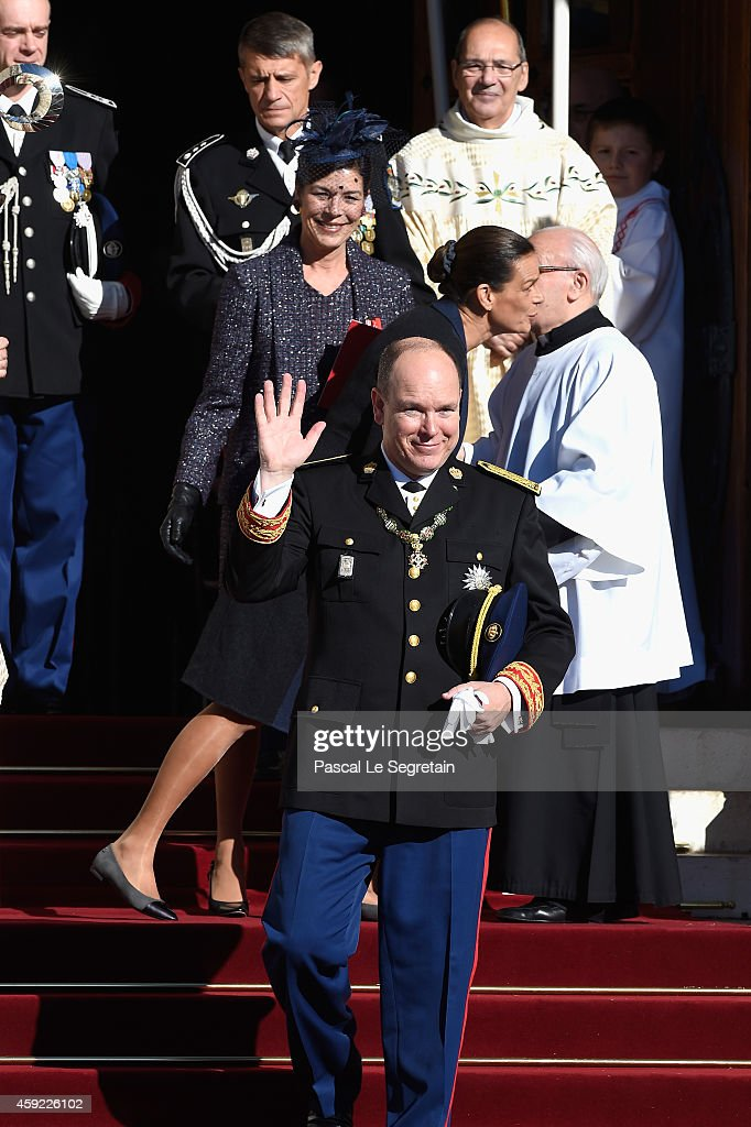Prince Albert II of Monaco, Princess Stephanie of Monaco and Princess Caroline of Hanover leave the Cathedral of Monaco during the official ceremonies for the Monaco National Day at Cathedrale Notre-Dame-Immaculee de Monaco on November 19, 2014 in Monaco, Monaco.