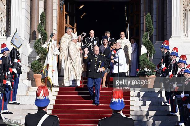 Prince Albert II of Monaco Princess Stephanie of Monaco and Princess Caroline of Hanover leave the Cathedral of Monaco during the official ceremonies...