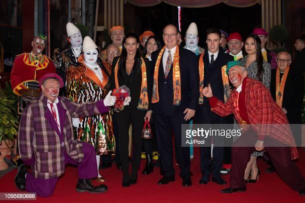 Prince Albert II of Monaco Princess Stephanie of Monaco Louis Ducruet and Marie Chevallier attend the 43rd International Circus Festival on January...