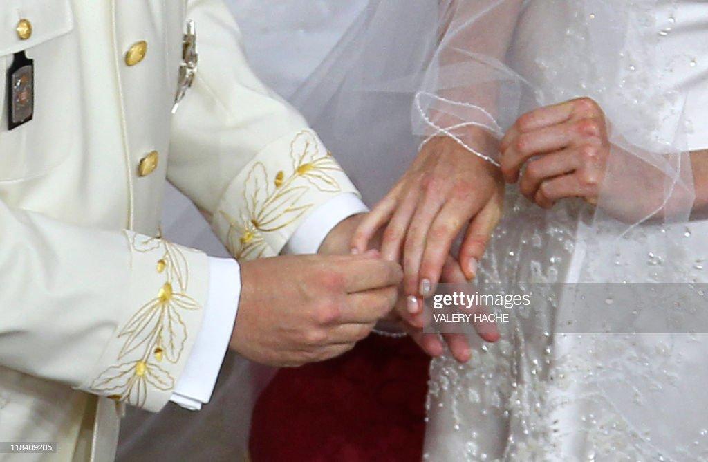 Prince Albert II of Monaco puts the ring : News Photo