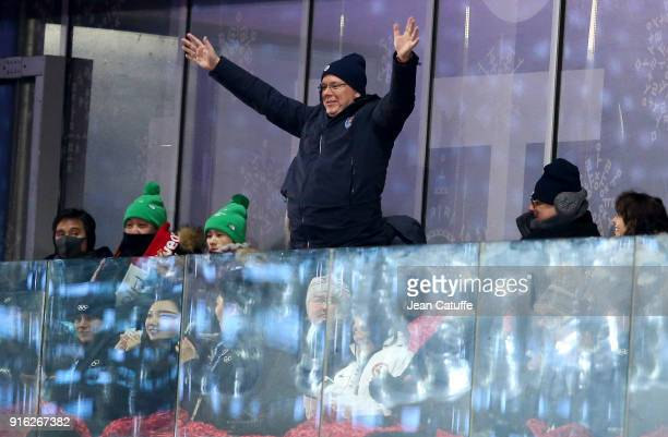 Prince Albert II of Monaco salutes the athletes of Luxembourg during the Opening Ceremony of the PyeongChang 2018 Winter Olympic Games at PyeongChang...