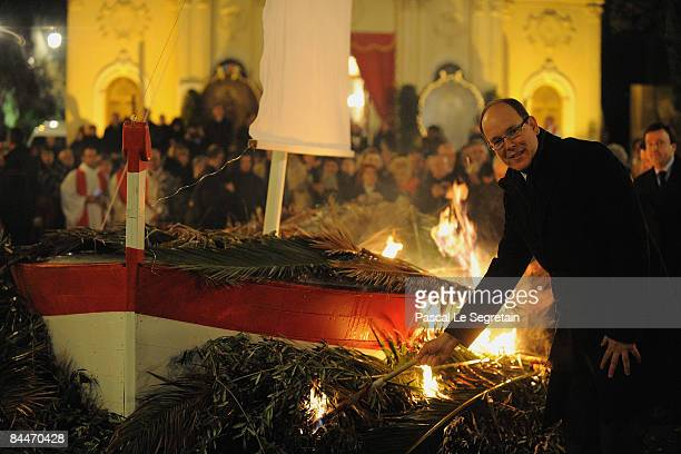 Prince Albert II of Monaco sets fire to a model boat during the Sainte Devote processions on January 26 2009 in Monte Carlo Monaco In 1924 Louis II...