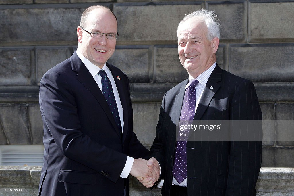 Prince Albert II Of Monaco (L) shakes hands with Senator Pat Moylan at Leinster House on April 4, 2011 in Dublin, Ireland. Prince Albert II of Monaco and his fiance Charlene Wittstock are on a state visit to Ireland from April 4-6.
