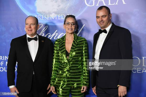 HSH Prince Albert II of Monaco Sharon Stone and Milutin Gatsby arrive at the 2020 Hollywood For The Global Ocean Gala Honoring HSH Prince Albert II...