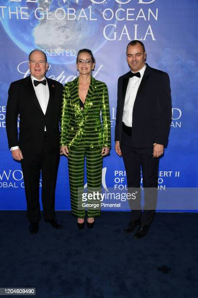 HSH Prince Albert II of Monaco Sharon Stone and Milutin Gatsby attends the 2020 Hollywood For The Global Ocean Gala Honoring HSH Prince Albert II Of...