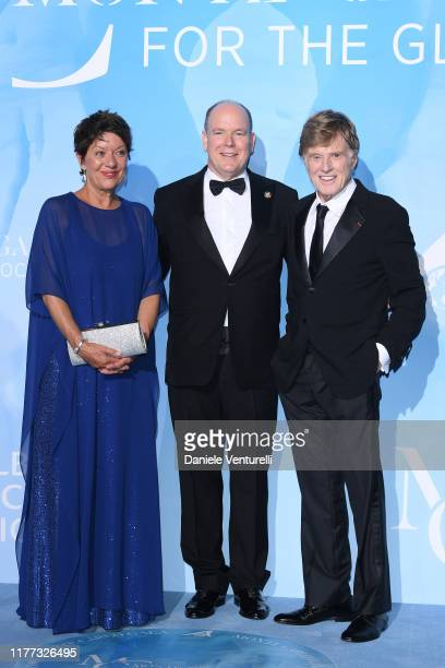 Prince Albert II of Monaco, Sibylle Szaggars Redford and Robert Redford attend the Gala for the Global Ocean hosted by H.S.H. Prince Albert II of...