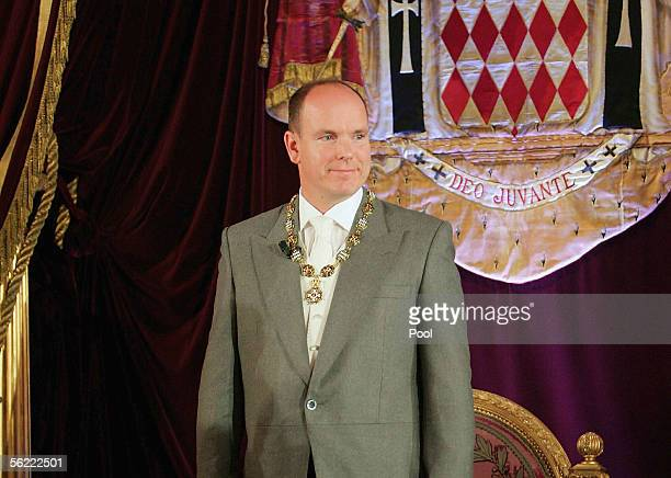 Prince Albert II of Monaco smiles during ceremonies on November 17, 2005 which invested him as ruler of Monaco in Monte Carlo. Prince Albert II was...