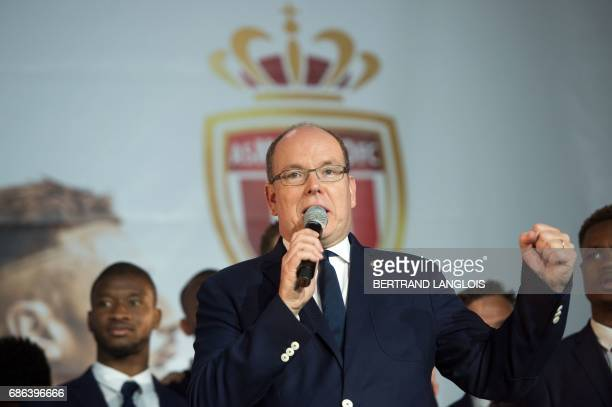 Prince Albert II of Monaco speaks on May 21, 2017 in Monaco, during a celebration to mark the club winning their first French Ligue 1 title in 17...