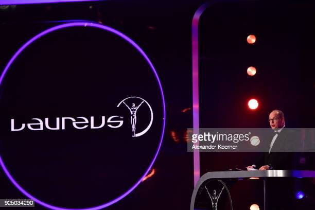 Prince Albert II of Monaco speaks on stage during the 2018 Laureus World Sports Awards show at Salle des Etoiles Sporting MonteCarlo on February 27...