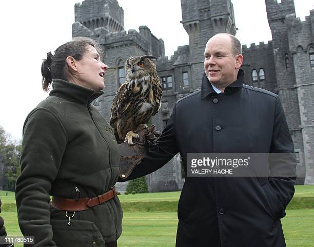 Prince Albert II of Monaco stands with an owl and its handler at Ashford castle Ireland on April 6 2011 Prince Albert II and fiancee Charlene...
