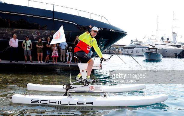 Prince Albert Ii of Monaco takes the start of the Riviera Water Bike Challenge in the port of Monaco in support of the Princess Charlene foundation...
