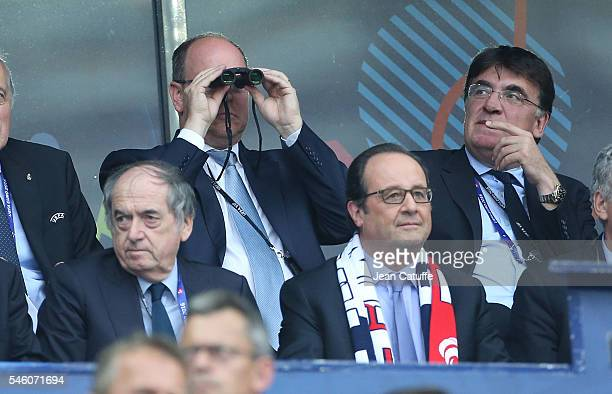 Prince Albert II of Monaco, UEFA General Secretary ad interim Theodore Theodoridis, above President of French Football Federation FFF Noel Le Graet,...