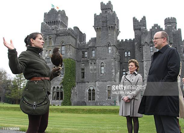 Prince Albert II of Monaco watches an owl with its handler at Ashford castle Ireland on April 6 2011 Prince Albert II and fiancee Charlene Wittstock...
