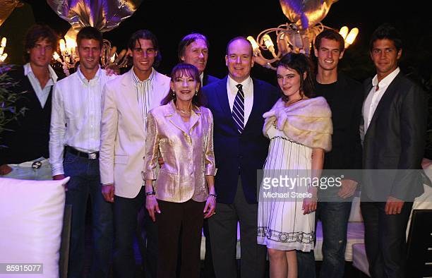 Prince Albert II of Monaco with Feliciano Lopez of Spain Novak Djokovic of Croatia Rafael Nadal of Spain Mme Elisabeth Anne de Massy Zeljko...