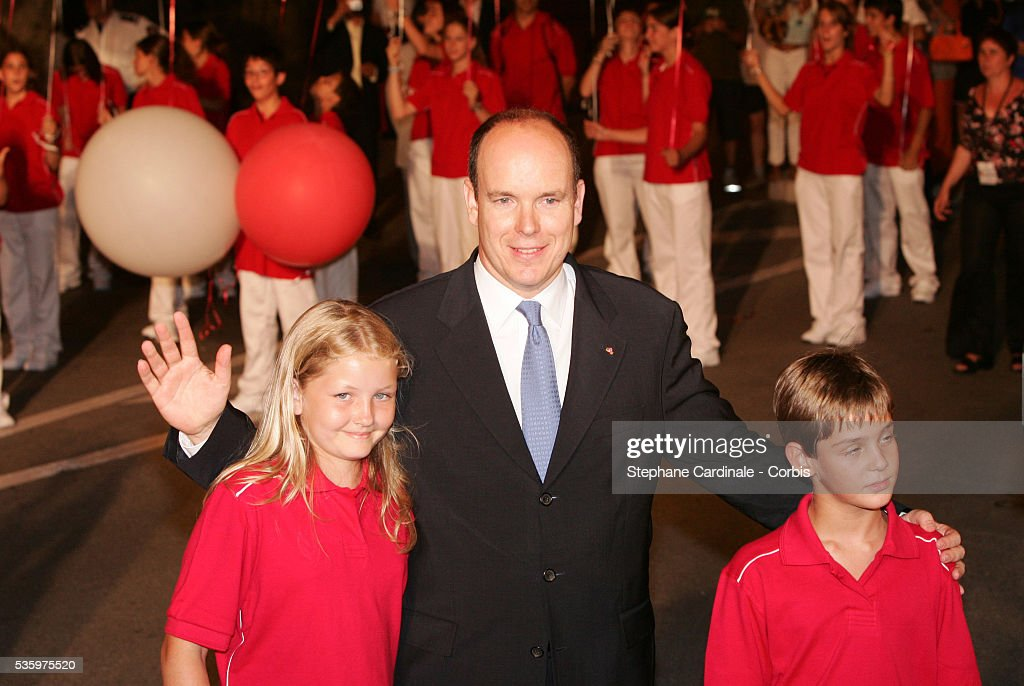HRH Prince Albert II of Monaco with his niece and nephew, attend the coronation party celebrating the accession of Prince Albert II to the Monaco throne.