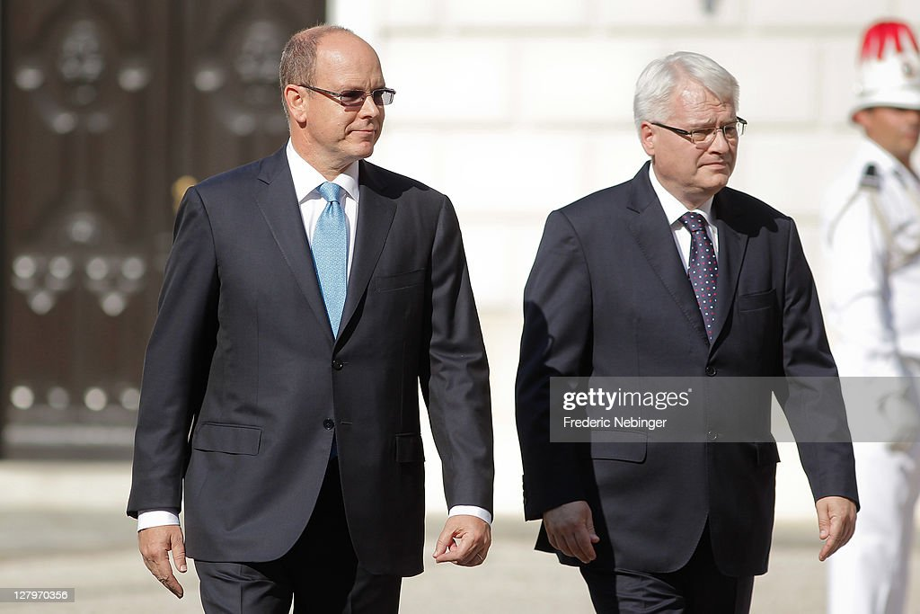 SAS Prince Albert II of Monaco with President Of Croatia Ivo Josipovic Receiving Military Honors At Monaco Palace 4, 2011 in Monaco, Monaco.