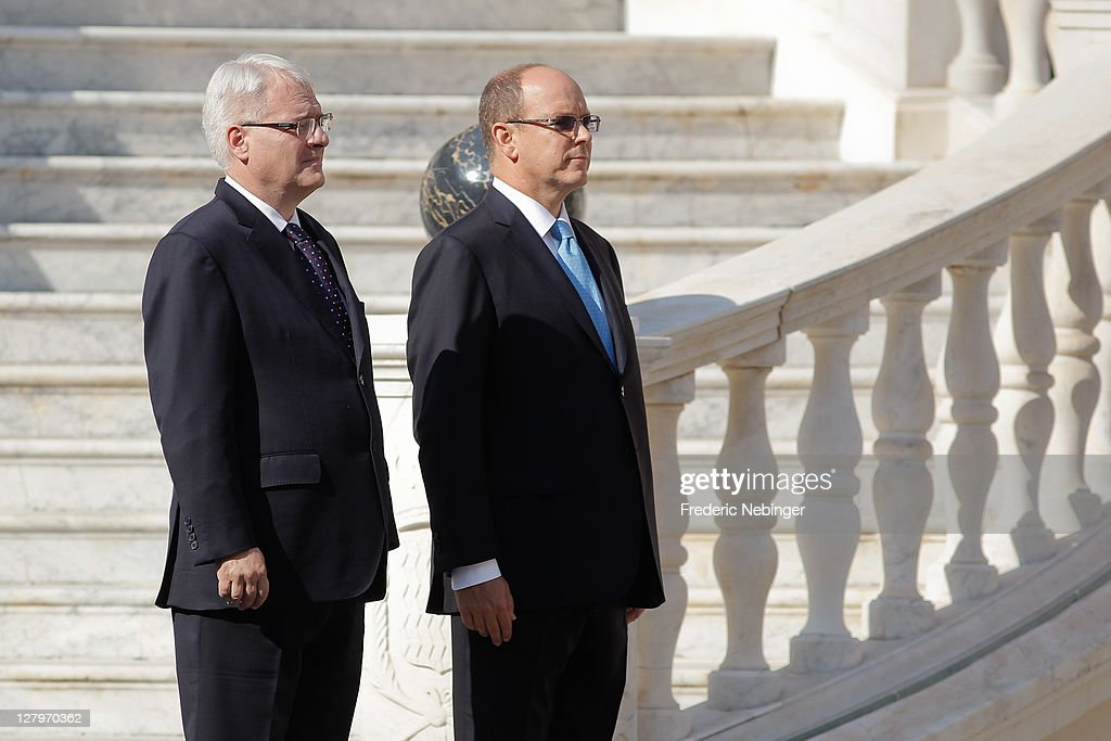 Prince Albert II of Monaco with President Of Croatia Ivo Josipovic Receiving Military Honors At Monaco Palace 4, 2011 in Monaco, Monaco.