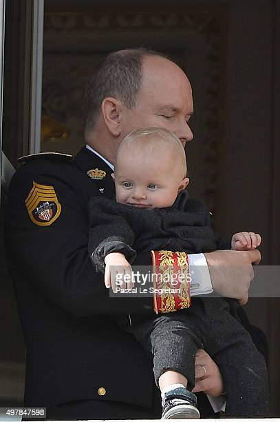 Prince Albert II of Monaco with Prince Jacques greet the crowd from the palace's balcony during the Monaco National Day Celebrations on November 19...