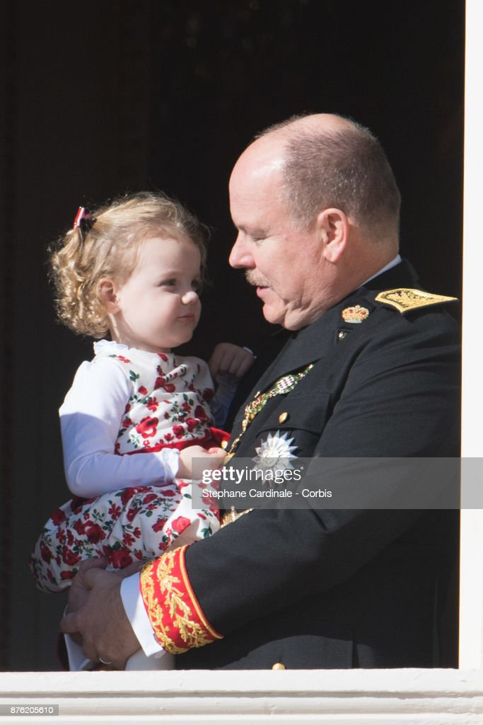Prince Albert II of Monaco with Princess Gabriella of Monaco greet the crowd from the Palace's balcony during the Monaco National Day Celebrations on November 19, 2017 in Monaco, Monaco.