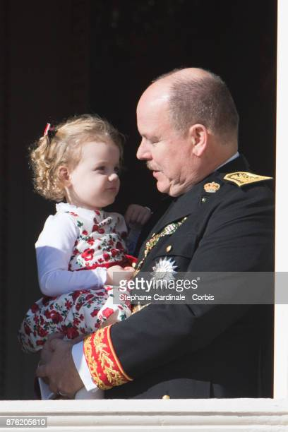 Prince Albert II of Monaco with Princess Gabriella of Monaco greet the crowd from the Palace's balcony during the Monaco National Day Celebrations on...