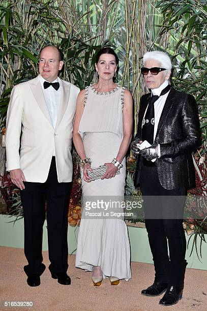 Prince Albert II of MonacoPrincess Caroline of Hanover and Karl Lagerfeld attend The 62nd Rose Ball To Benefit The Princess Grace Foundation at...