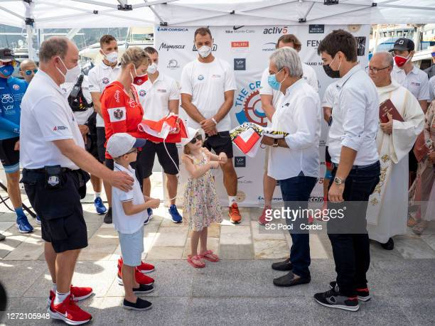 Prince Albert II of Monaco,Princess Charlene of Monaco, Prince Jacques, Princess Gabriella and the Mayor of Calvi Ange Santini before the departure...
