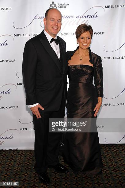 Prince Albert II of Monoco and TV personality Maggie Rodriguez attend the 2009 Princess Grace Awards Gala at Cipriani 42nd Street on October 21 2009...