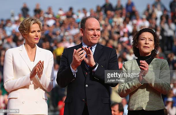 Prince Albert II Princess Charlene and ElisabethAnne de Massy present the trophies after the final between Roger Federer of Switzerland and Stanislas...