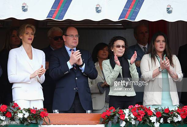Prince Albert II Princess Charlene ElisabethAnne de Massy and MelanieAntoinette de Massy attend the final between Roger Federer of Switzerland and...
