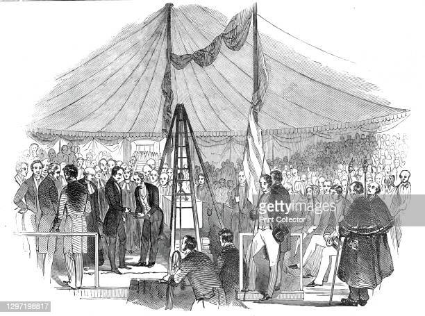 Prince Albert laying the foundation stone of St. Mary's Hospital Paddington, 1845. 'The site of the intended building is at the North end of...