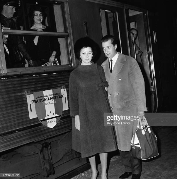 Prince Albert of Belgium and princess Paola of Belgium at Gare SaintLazare going by train to Le Havre where they will attend in the evening the Bal...