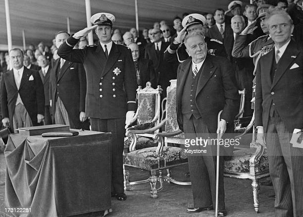 Prince Albert of Belgium at a ceremony for the inauguration of a new bridge in the port of Brussels, 19th June 1955.