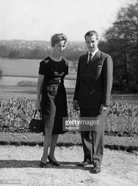 Prince Albert of Belgium later King Albert II of Belgium and his fiance Princess Paola of Belgium in the gardens of the Royal Palace of Laeken after...