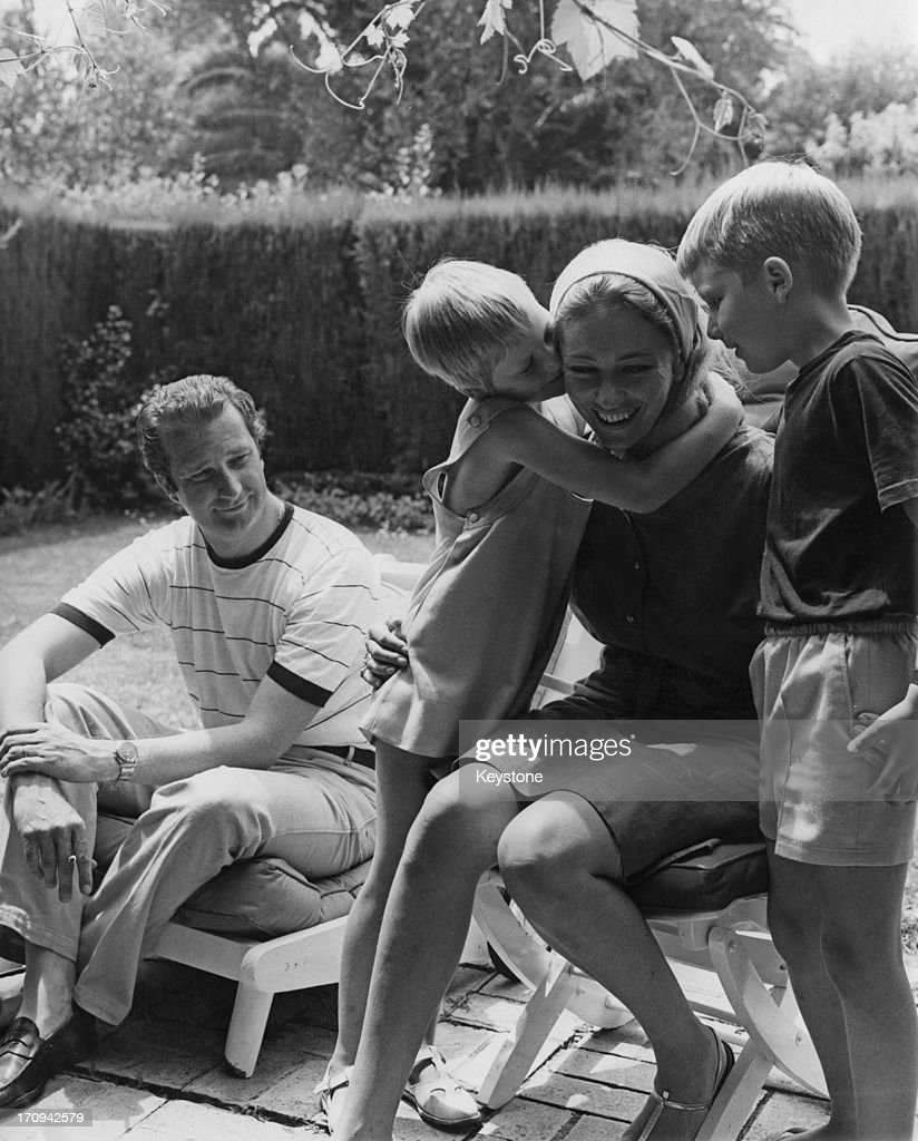 Prince Albert of Belgium, later King Albert II of Belgium and Princess Paola of Belgium (later Queen Paola of Belgium) with their children Princess Astrid of Belgium and Prince Philippe of Belgium (right), enjoying a quiet family holiday in Cap d'Antibes, France, 5th July 1968.