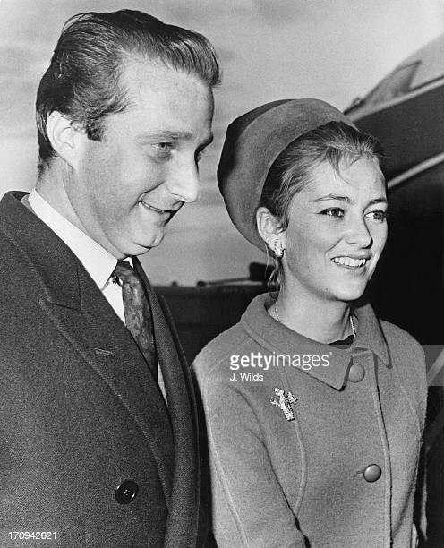 Prince Albert of Belgium later King Albert II of Belgium and Princess Paola of Belgium arrive at London Airport for a brief visit as guestsofhonour...