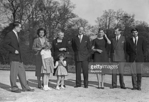 Prince Albert of Belgium later King Albert II of Belgium and Princess Paola of Belgium announce their engagement to the press and pose for a family...