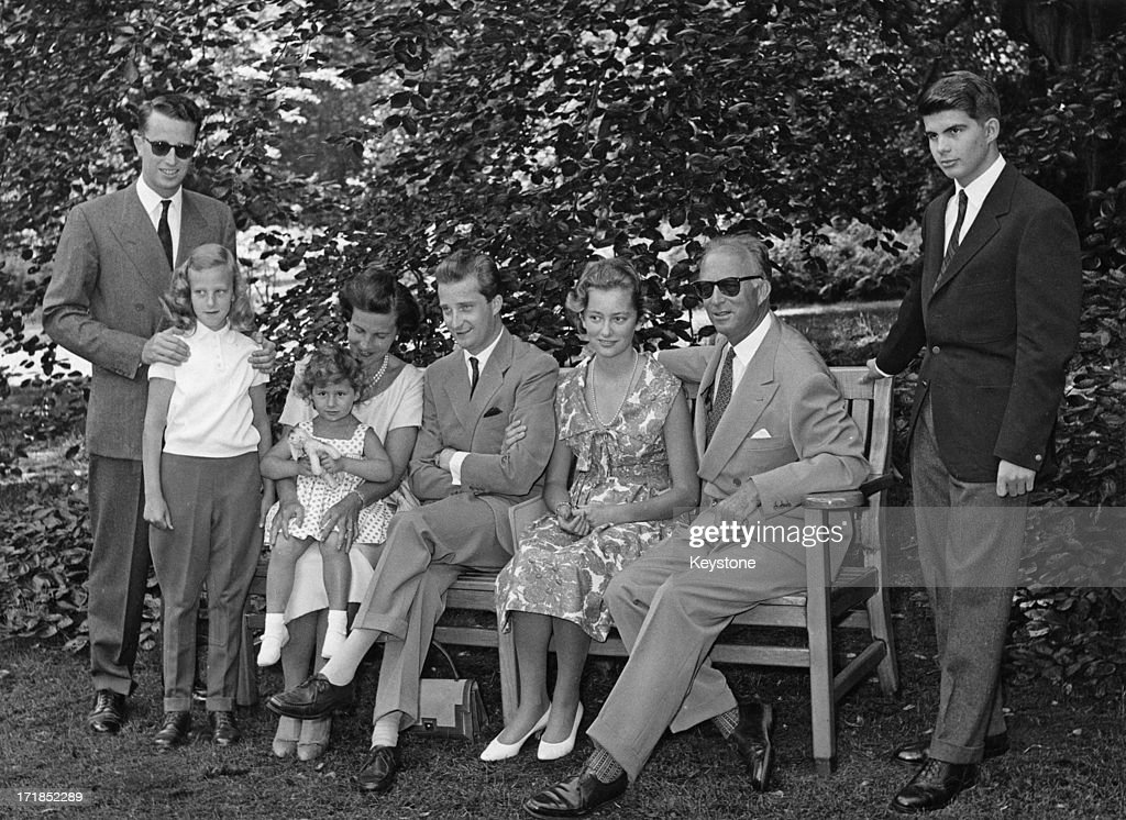 Prince Albert of Belgium, later King Albert II of Belgium and Princess Paola of Belgium (later Queen Paola of Belgium) announce their engagement and pose for a family portrait at the Royal Palace of Laeken, Brussels, 8th June 1969. L - R; King Baudouin of Belgium (1930 - 1993), Princess Marie-Christine of Belgium, Princess Lilian of Belgium (1916 - 2002), Princess Marie-Esmeralda of Belgium, Prince Albert of Belgium, later King Albert II of Belgium, Princess Paola of Belgium (later Queen Paola of Belgium), ex-King Leopold III of Belgium, and Prince Alexander of Belgium (1942 – 2009).