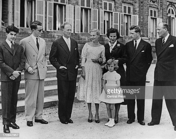Prince Albert of Belgium later King Albert II of Belgium celebrates his 22nd birthday at the Royal Castle of Laeken Brussels 6th June 1956 LR Prince...