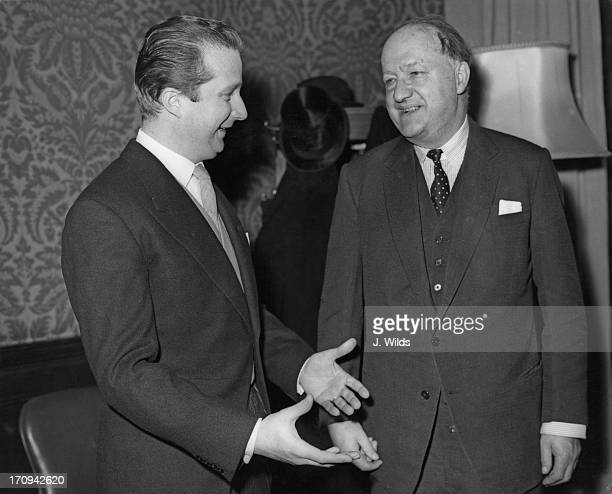Prince Albert of Belgium later King Albert II of Belgium in London for the Belgian Trade Mission is greeted by Foreign Secretary RA Butler at the...